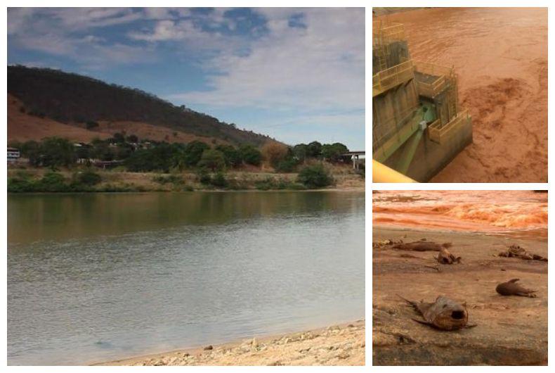 O Rio Doce antes e depois da enxurrada de lama