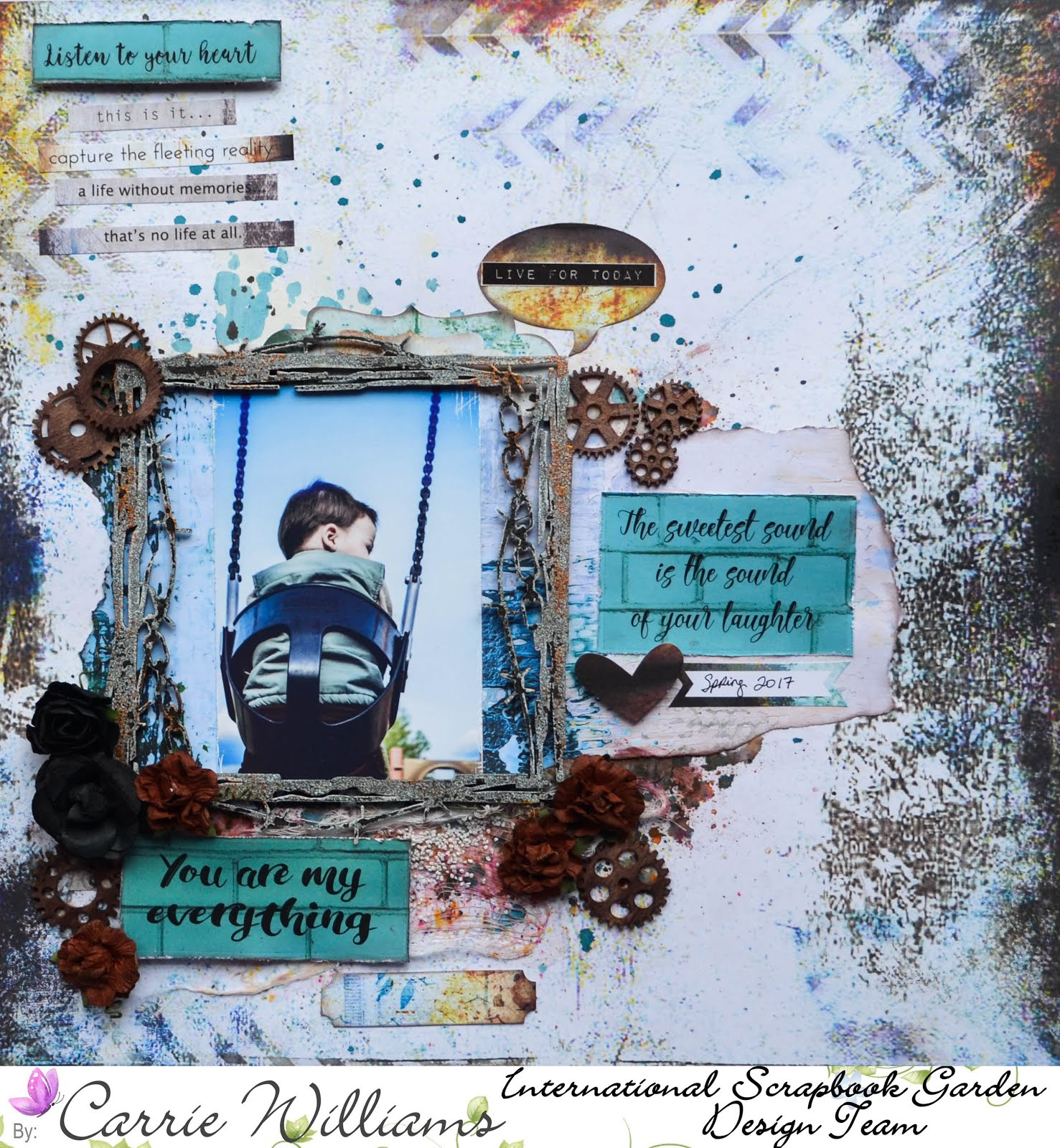 Grungy boys scrapbook layout mixed media with 7 Dots Hazy Days paper in black and white with rust, Creative Embellishments chipboard, art stones, die cuts, mixed media