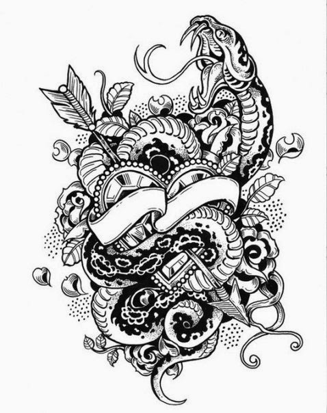 Art And Tattoo Snake