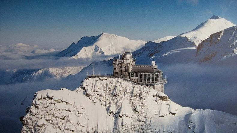 Breathtaking Sphinx Observatory at Swiss Alps  Snow