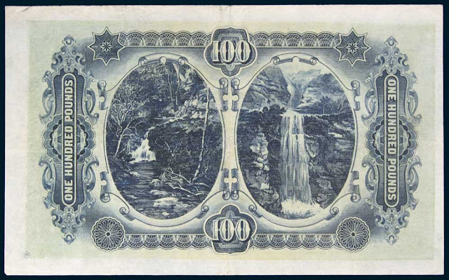 Australian Money Currency One Hundred Pounds 1924 Waterfalls on the Upper Yarra River in Victoria and at Leura in the Blue Mountains, New South Wales