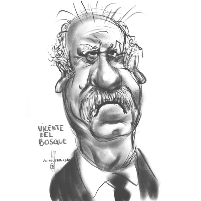 Vicente Del Bosque caricature by Artmagenta
