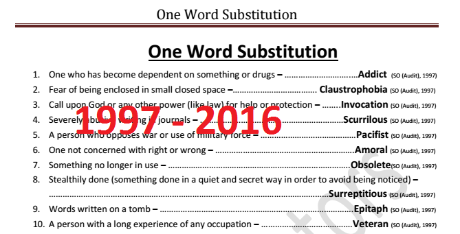 One Word Substitution Asked in SSC Exams from 1997 to 2016 - PDF