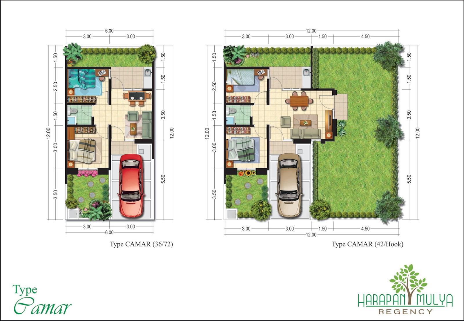 Ephedra Niby Denah Rumah Minimalis Modern Type 21 36 45 1 Lantai