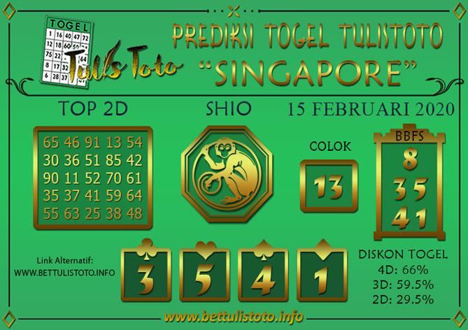 Prediksi Togel SINGAPORE TULISTOTO 15 FEBRUARI 2020