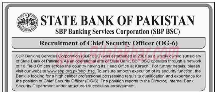State Bank of Pakistan (SBP) Jobs 2018