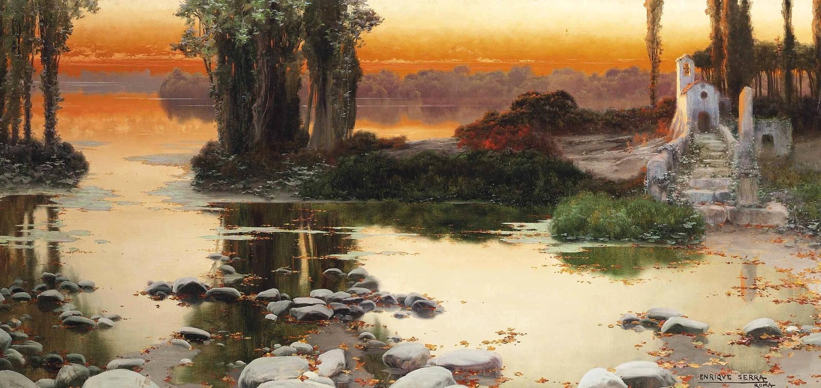 Enrique  Serra  y  Auque  Sunset  over  a  lake