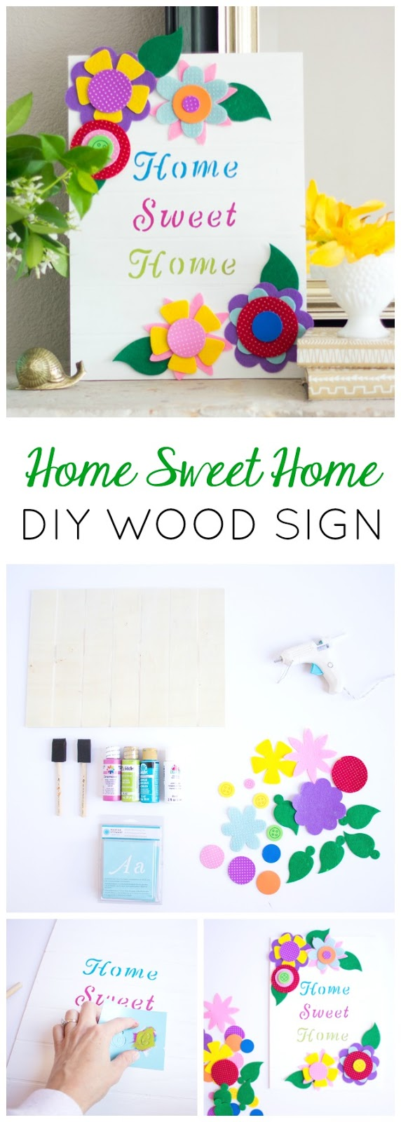 Make this pretty floral wood Home Sweet Home sign for easy DIY decor!