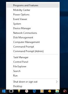 Mengakses programs and features untuk mengosongkan hard disk space