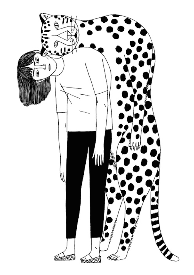 Amelie Fontaine Girl and Leopard