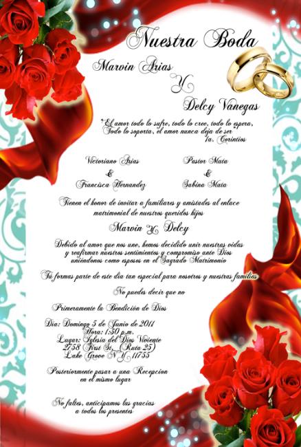 tarjeta de invitacin para bodas turquesa con rosas rojas y anillos