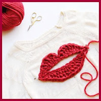 Mega aplique labios a crochet