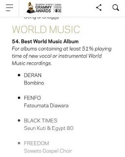Seun Kuti nominated for Grammy awards BEST WORLD MUSIC ALBUM
