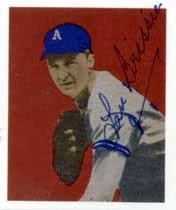 Lou Brissie, former Philadelphia Athletics All-Star and war hero, signed baseball card.