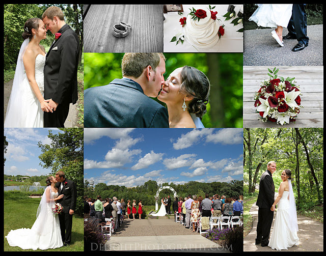 outdoor wedding blue skies; wedding couple; red and white bouquet