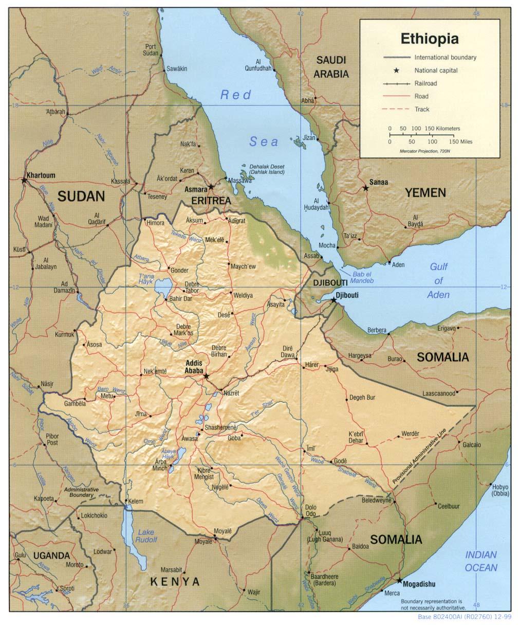 Etiópia | Mapas Geográficos da Etiópia