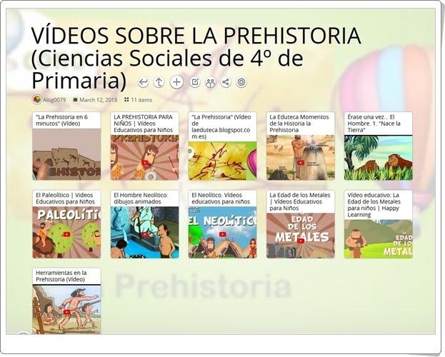 """""""11 Vídeos para el estudio de LA PREHISTORIA en 4º de Primaria"""""""