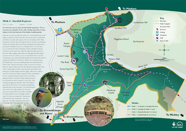 hackfall wood, leaflet, map, route, walks