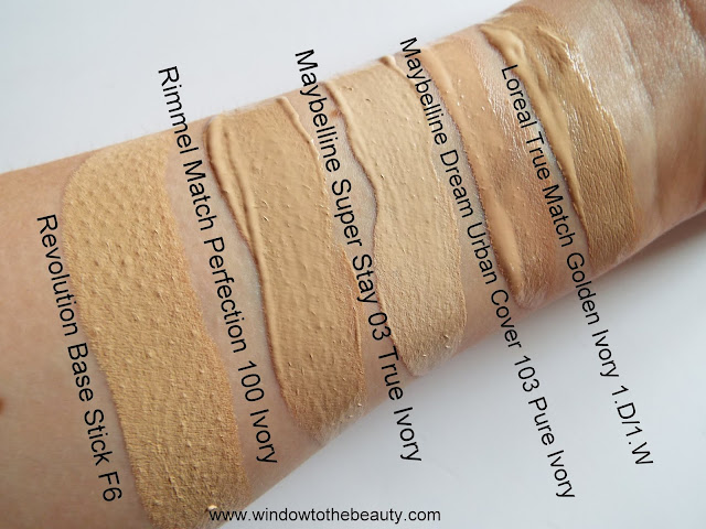 comparison of foundations shades Revolution rimmel loreal maybelline