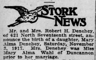 Mary Alma Denehey birth annoucement Harrisburg Telegraph 1917