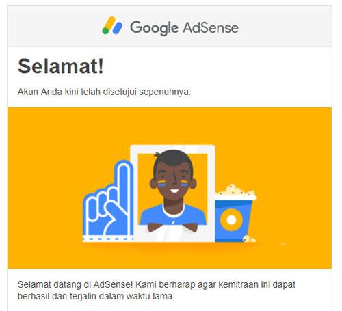 Email penerimaan akun sepenuhnya oleh Google Adsense. Full approved