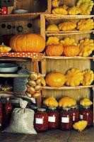 Raflarında dizilmiş kabaklar, asılmış bir soğan salkımı, kavanozlarda reçeller ve bir çuval fındık olan eski kiler