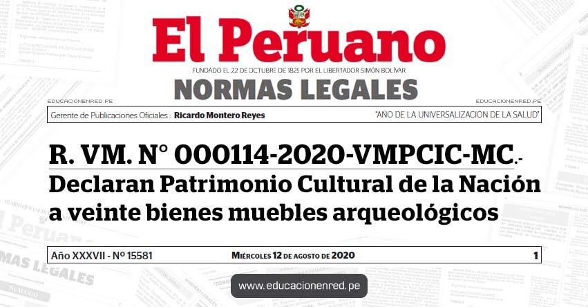 R. VM. N° 000114-2020-VMPCIC-MC.- Declaran Patrimonio Cultural de la Nación a veinte bienes muebles arqueológicos