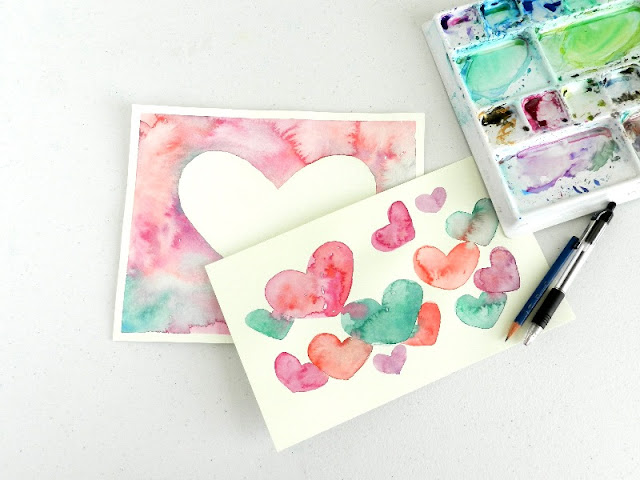 Watercolor Heart Paintings by Elise Engh