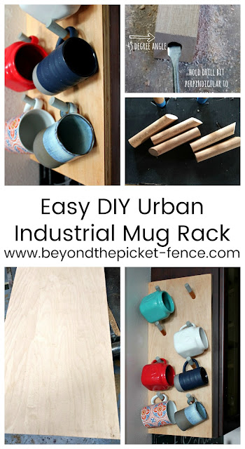 how to make an easy DIY industrial urban style mug rack