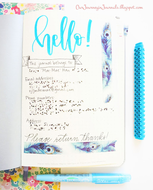 first page of bullet journal