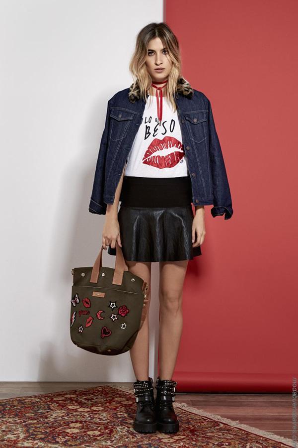 Faldas, camperas, remeras invierno 2017 moda mujer.
