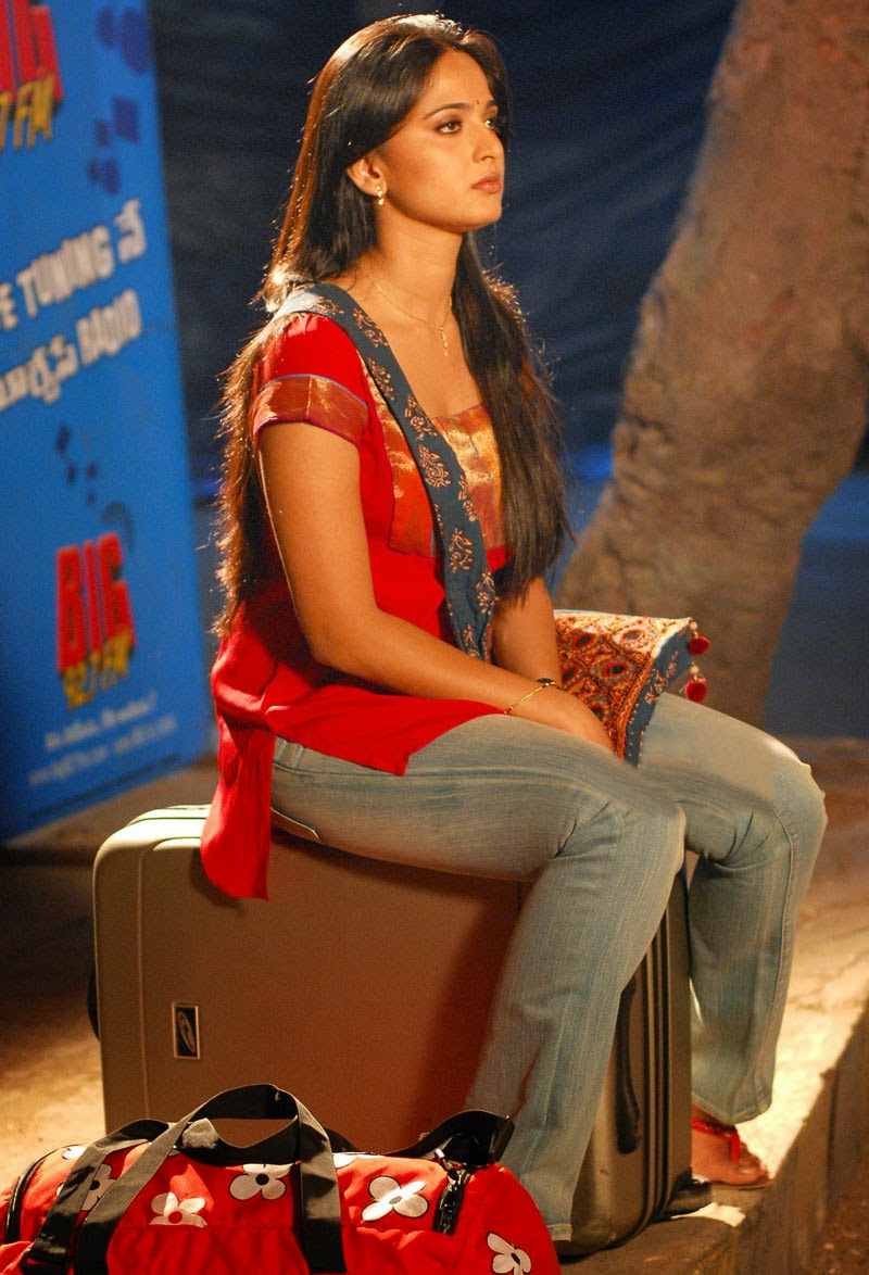 Anushka Shetty Funny Looking Photos In Red Dress