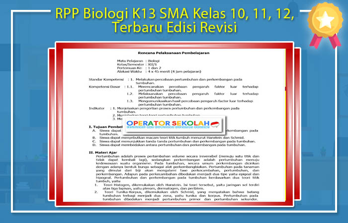 RPP Biologi K13 SMA Kelas 10, 11, 12, Terbaru Edisi Revisi