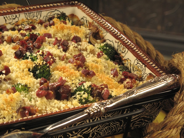 Mushroom Couscous with Venison and Sharp Cheddar Cream and Tomato Couscous with Feta