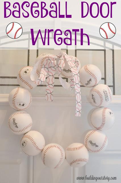 DIY baseball wreath, baseball door wreath, easy spring wreath idea, spring training baseball wreath, baseball decorations, baseball birthday party.