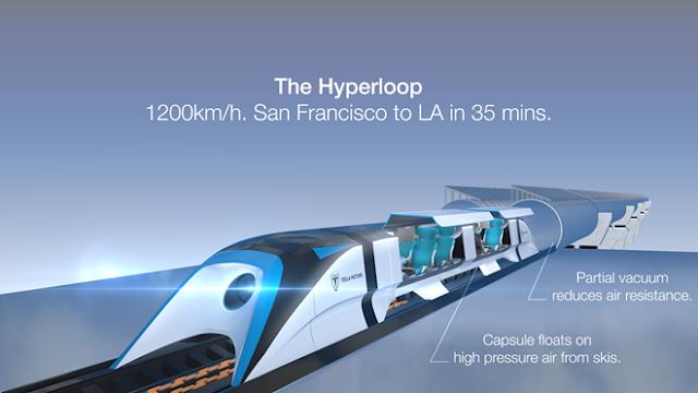 Hyperloop di chuyển với vận tốc 1.200 km/h