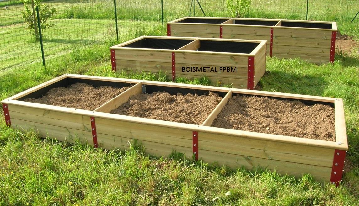 boismetal fpbm du nouveau pour le jardin des carr s en bois et acier laqu. Black Bedroom Furniture Sets. Home Design Ideas