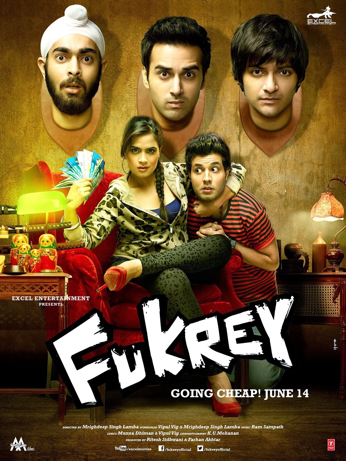 Fukrey 2013 Hindi 1080p Bluray x264 DTS-HDMA-5.1 – Hon3yHD | 14 GB |