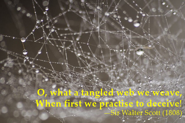 O, what a tangled web we weave when first we practise to deceive