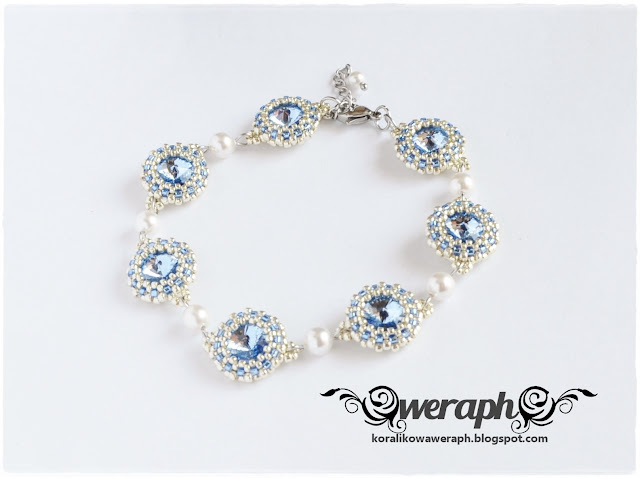 8a3f5b8c2e25fd Komplet składa się z kolczyków i bransoletki. Całość wykonałam przy użyciu  kryształów rivoli Swarovskiego 12 mm barwy light sapphire, perełek  Swarovskiego ...