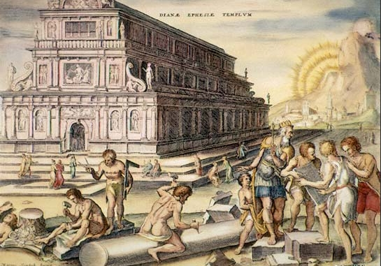 Temple of Artemis at Ephesus  16th-century hand-colored engraving by Martin Heemskerck Evidence of one the first examples of ancient Greek under floor central heating was found here.