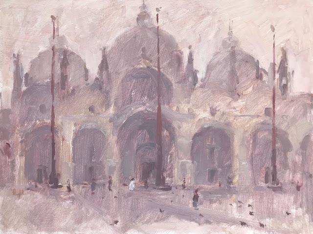 #383 'Early Mist St Marks Basilica' 9×12″