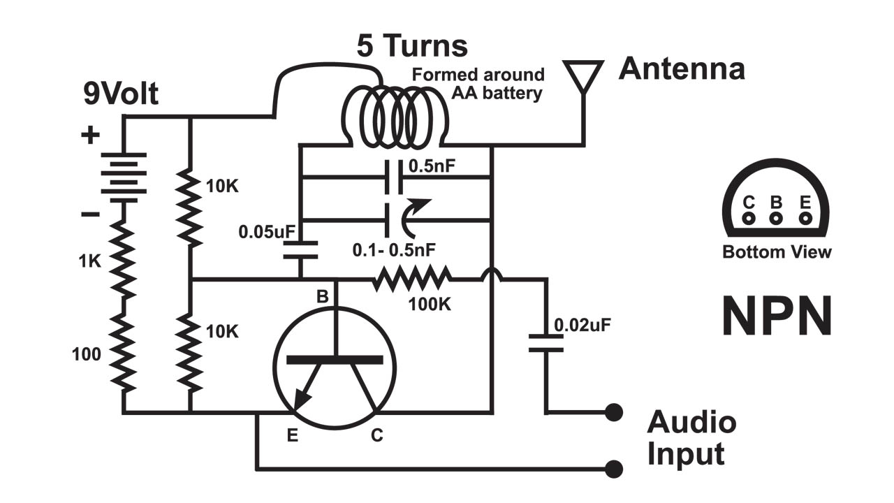 fm transmitter circuit diagram using transistor