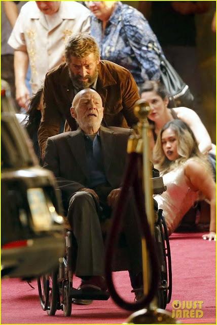 Patrick Stewart y Hugh Jackman en el set de rodaje