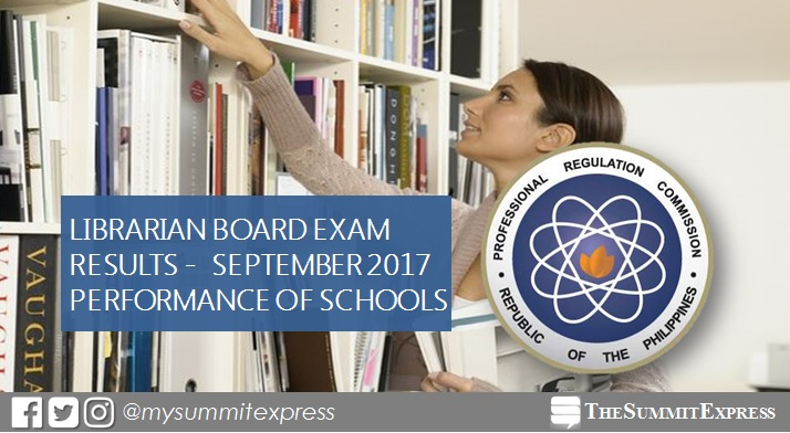 Top performing school, performance of schools Librarian board exam September 2017