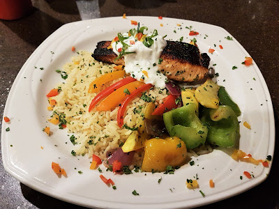 Grilled salmon at Bugler's Restaurant, Elkwater Lake Lodge