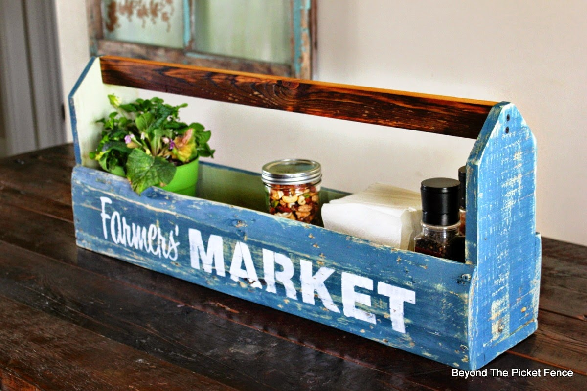 old sign stencils, fusion mineral paint, toolbox, crate, reclaimed wood, pallets, http://bec4-beyondthepicketfence.blogspot.com/2015/04/farmers-market-toolbox.html
