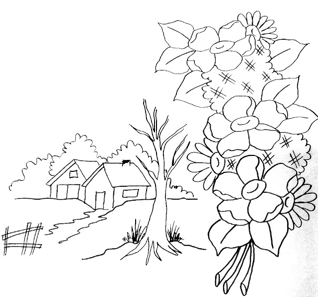paisagem desenho pintura