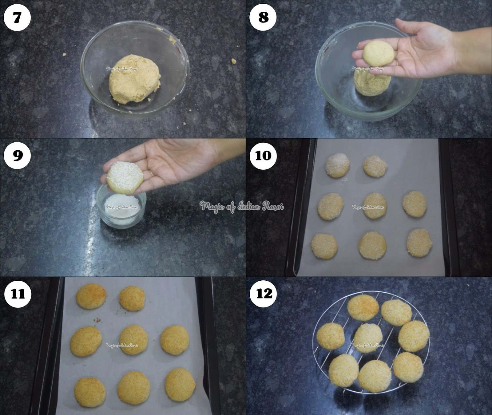 Almond Semolina Cookies - Wheat Flour & Badam Nankhatai Recipe - गेहू, रवा और बादाम की नानखटाई - Priya R - Magic of Indian Rasoi