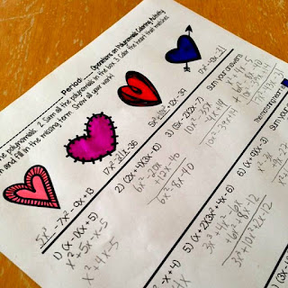 Polynomials Valentine's Day Coloring Activity